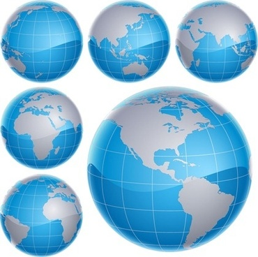 3d globes collection various colored sketches