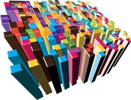colorful 3d columns design vertical style