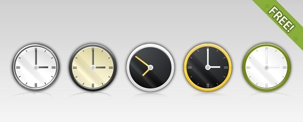 Free 5 PSD Clock Icons