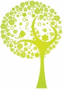 tree design green curves style leaves bird decoration