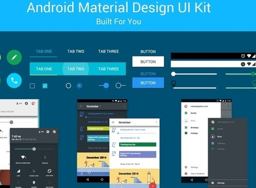 free android material design ui kit psd