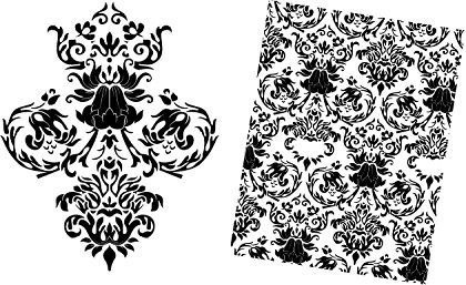 floral pattern design elements various black white decoration