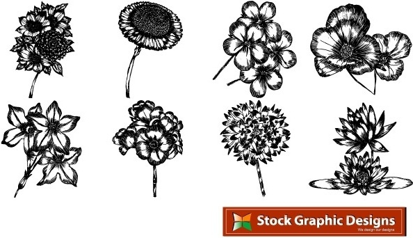 Free beautiful vector flowers pack. In pack 15 flower designs in eps format