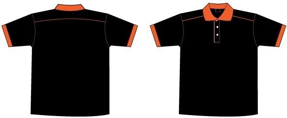 Free Black & Orange Collar T-Shirt Template