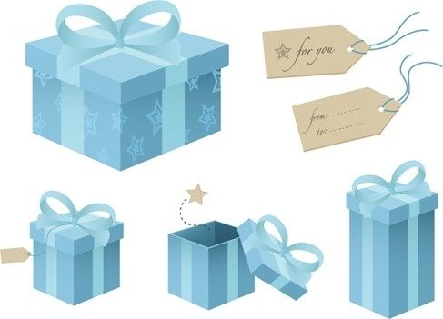 Free Blue Gift Box Vector Material