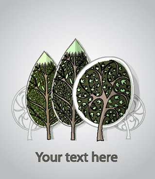 free cartoon trees label vector