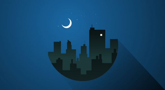 free city at night with moonlight vector