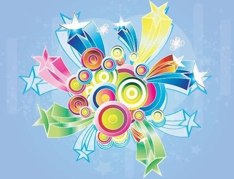 Free Colorful Retro Design Background Vector Graphic