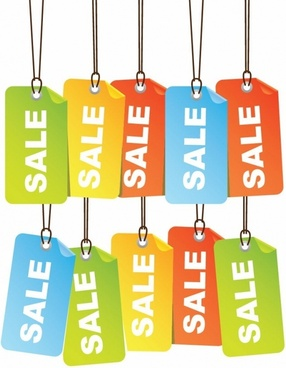 Free Colourful Sale Tags Vector Illustration