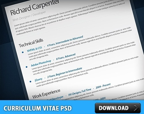 Free Curriculum Vitae – Resume PSD