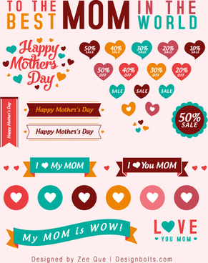 free cute mothers day sale vectors icons banners