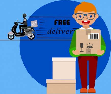 free delivery banner delivering boy icon colored design