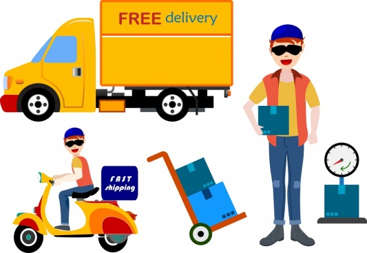 free delivery design elements various flat colored types