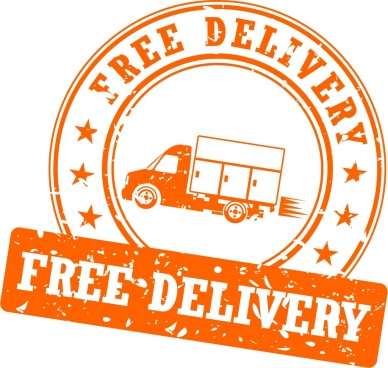 free delivery stamp closeup retro circle design