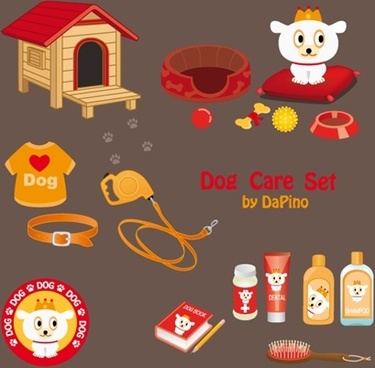 dog care sets design elements various colored style