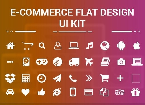 free ecommerce web flat design ui kit