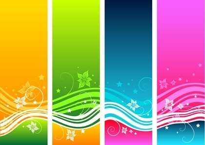 colorful floral background sets vertical style curves decoration