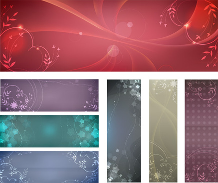 free flowery vector banner backgrounds