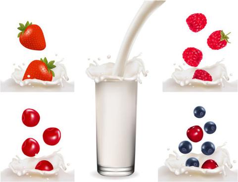 free fruit milk vector