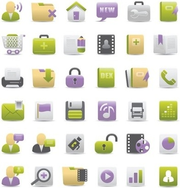 computer icons collection various colored types