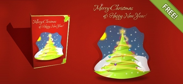 Free Layered Christmas Card