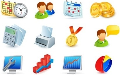 office icons collection 3d colorful symbols