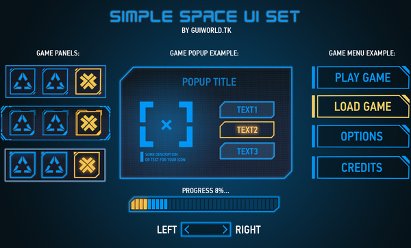 free psd file with good organized layers gui elements buttons popups game panels in blue scifi style