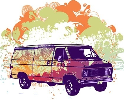van icon design classical grunge style decoration