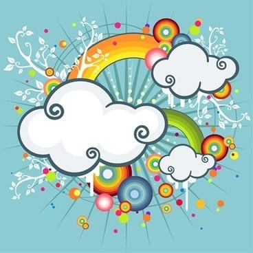 cloud rainbow background colorful cartoon style decoration