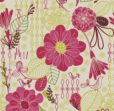 Free Retro Floral Pattern Seamless Background Vector