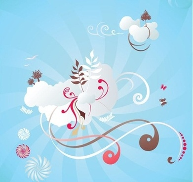 Free Scrolls and Clouds Vector Graphic