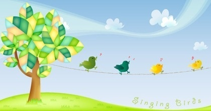 singing birds theme colored flat design