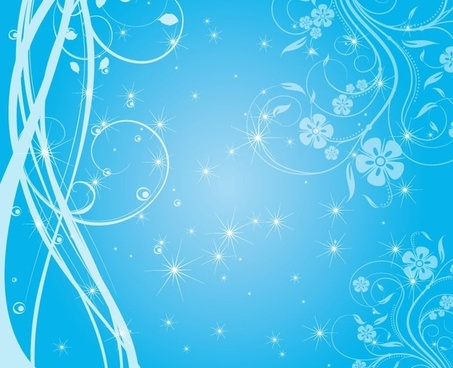 Free Swirly Blue Stars Vector Background