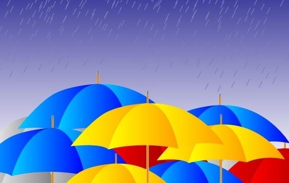 Free Umbrellas in the rain Vector