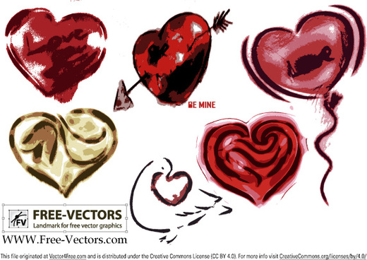 free valentines love heart vector