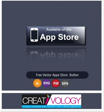 Free Vector Apps Store  Button