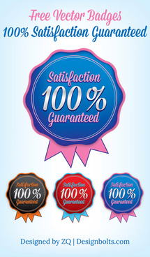 free vector badges 100 satisfaction guaranteed