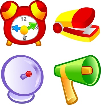 clock speaker stationery antenna icons colorful cartoon design