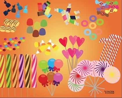 candies icons collection various colorful types