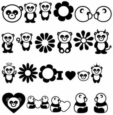 pandas icons collection black white design love style