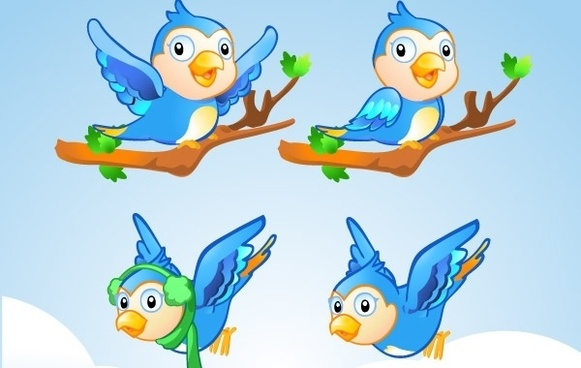 Free Vector Character � Little Blue Bird