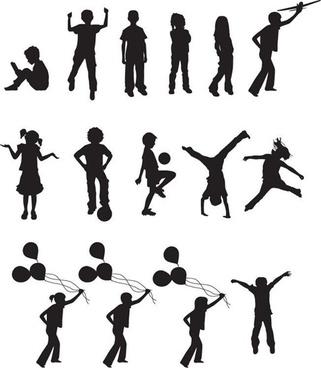 Free Vector Children Silhouettes