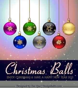 free vector colorful hanging christmas balls decorations