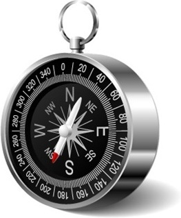 compass icon design closeup realistic style