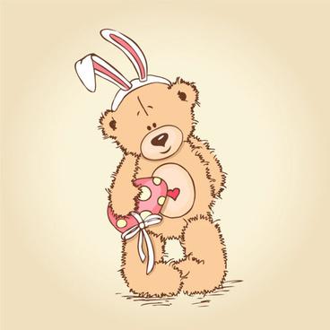 free vector cute cartoon little bear