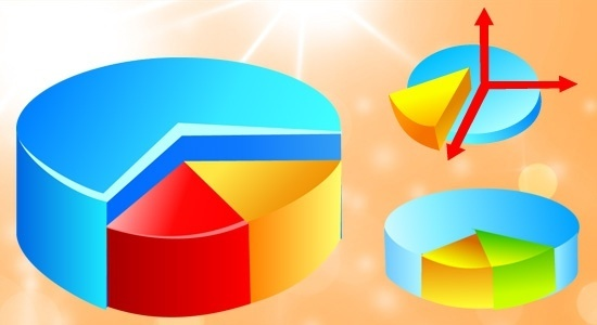 pipe chart icons collection 3d colorful decoration