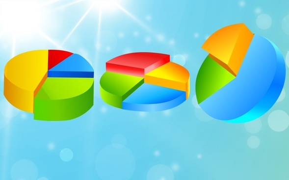 pie charts collection 3d colorful bright design