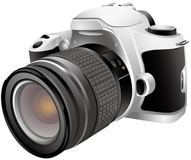 digital camera design closeup realistic style