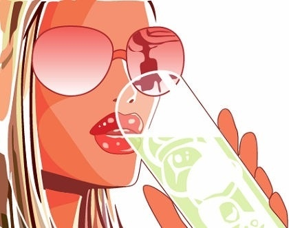 stylish girl icon colored design drinking water posing