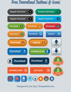 free vector download upload buttons icons
